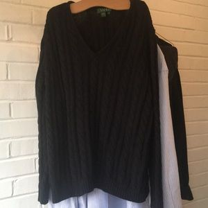 Lauren Ralph Lauren Black Cable Knit Sweater Sz 1x